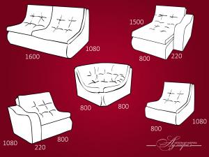 размеры модулей дивана